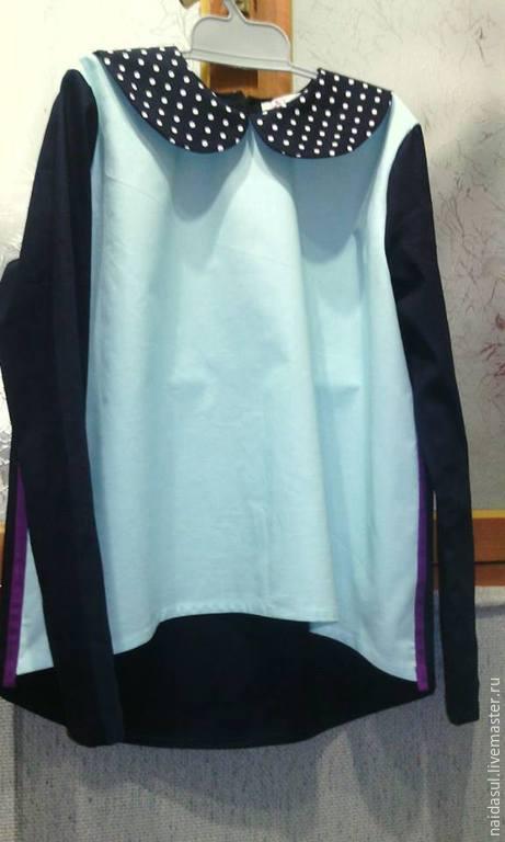Для подростков, ручной работы. Ярмарка Мастеров - ручная работа. Купить Блузка на девочку. Handmade. Голубой, однотонный, туника для девочки