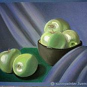 """Картины ручной работы. Ярмарка Мастеров - ручная работа Натюрморт с яблоками """"Яблочки"""". Пастель.. Handmade."""