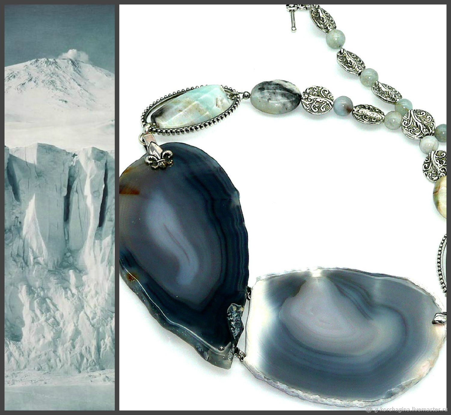 ' The white prisoner' necklace grey with white slices of agate amazonite, Necklace, Voronezh,  Фото №1