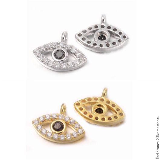Подвеска `от сглаза` с черным фианитом серебро и золото (Milano) Евгения (Lizzi-stones-2)