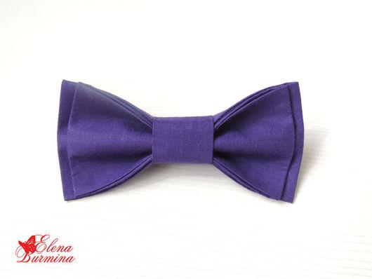 Галстуки, бабочки ручной работы. Ярмарка Мастеров - ручная работа. Купить Бабочка галстук темно-фиолетовая, хлопок. Handmade.
