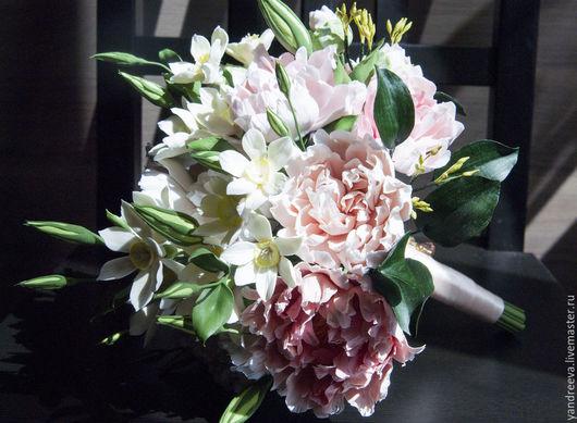 """Свадебные цветы ручной работы. Ярмарка Мастеров - ручная работа. Купить Букет невесты """"Римские каникулы"""". Handmade. Бледно-розовый"""