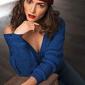 """Одежда ручной работы. Ярмарка Мастеров - ручная работа свитер вязаный женский с открытой спиной """"УКРАДУ ТЕБЯ"""" синий. Handmade."""