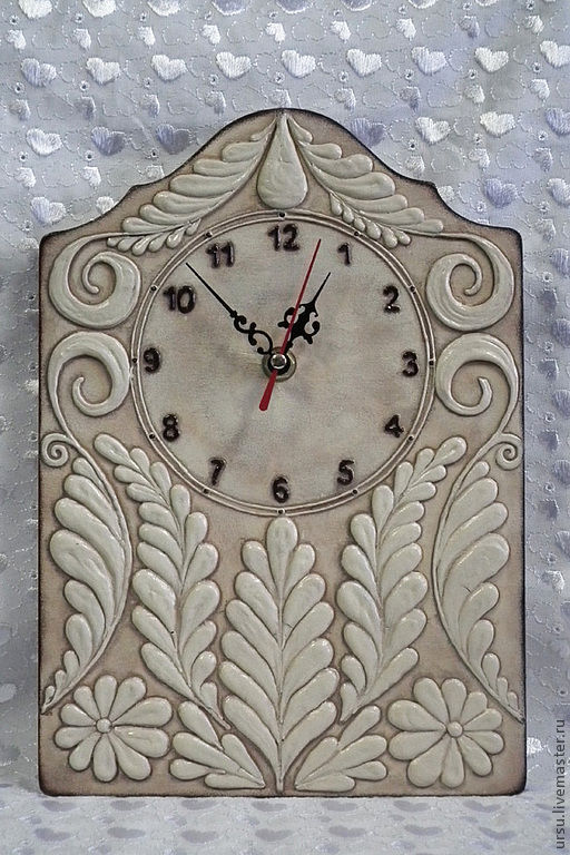 Часы для дома ручной работы. Ярмарка Мастеров - ручная работа. Купить Часы настенные Трапунто. Handmade. Бежевый, часы декупаж