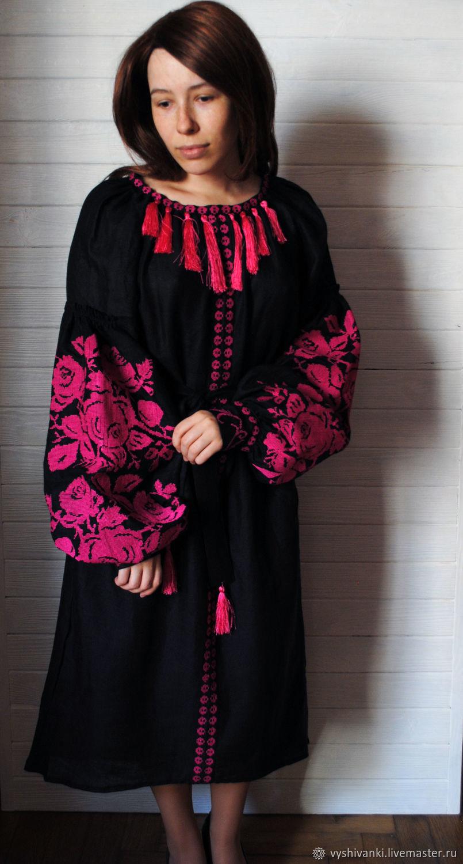 Шикарное льняное платье Розовая мечта украинская вышиванка, Костюмы, Львов,  Фото №1
