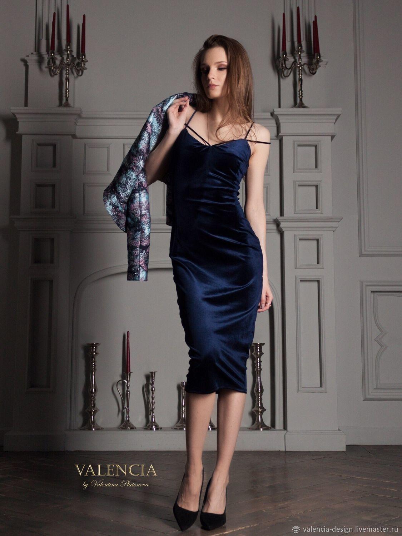 Платье из бархата по фигуре на лямочках темно-синее Изабель, Платья, Москва,  Фото №1