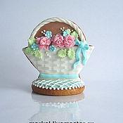Сувениры и подарки ручной работы. Ярмарка Мастеров - ручная работа Корзинка с цветами на подставке. Handmade.