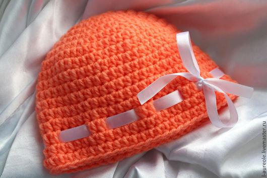 Мандаринка - оранжевая шапочка для малышки