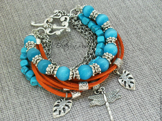 """Браслеты ручной работы. Ярмарка Мастеров - ручная работа. Купить Стильный  браслет """"Осенний небосвод"""" оранжево-голубой. Handmade."""