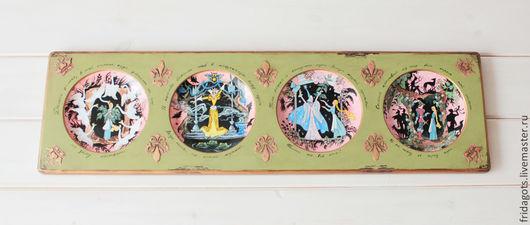 """Репродукции ручной работы. Ярмарка Мастеров - ручная работа. Купить Роспись фарфора. Панно с тарелками """" Дикие лебеди"""". Handmade."""