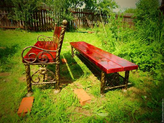 Экстерьер и дача ручной работы. Ярмарка Мастеров - ручная работа. Купить Набор кованой , садовой мебели. Handmade. Комбинированный, Лавочки
