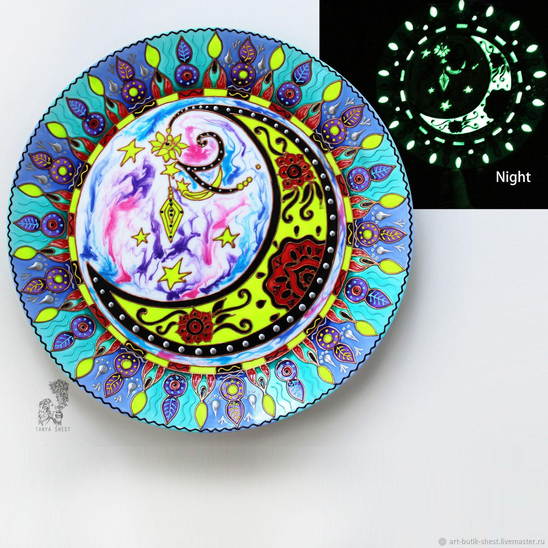 """Тарелки ручной работы. Ярмарка Мастеров - ручная работа. Купить """"Лунный фонарь"""" тарелка на стену - светится в темноте. Handmade. Мандала"""