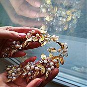 Свадебный салон handmade. Livemaster - original item Wedding wreath. Golden pearl.. Handmade.
