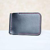 Сумки и аксессуары handmade. Livemaster - original item Wallet with money clip Navy (Horween leather ). Handmade.