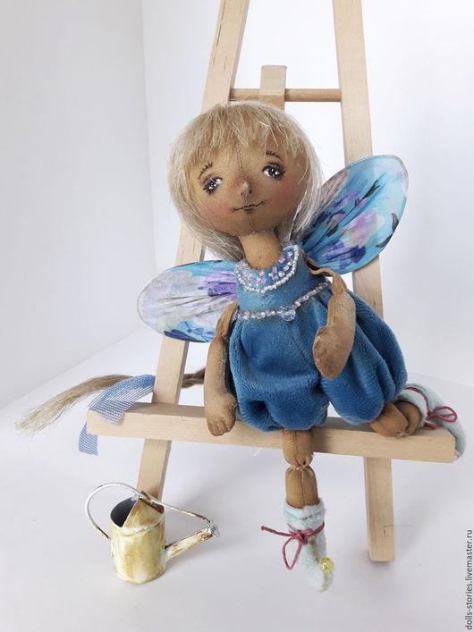 Коллекционные куклы ручной работы. Ярмарка Мастеров - ручная работа. Купить Кукла-бабочка текстильная интерьерная. Handmade. Тёмно-бирюзовый