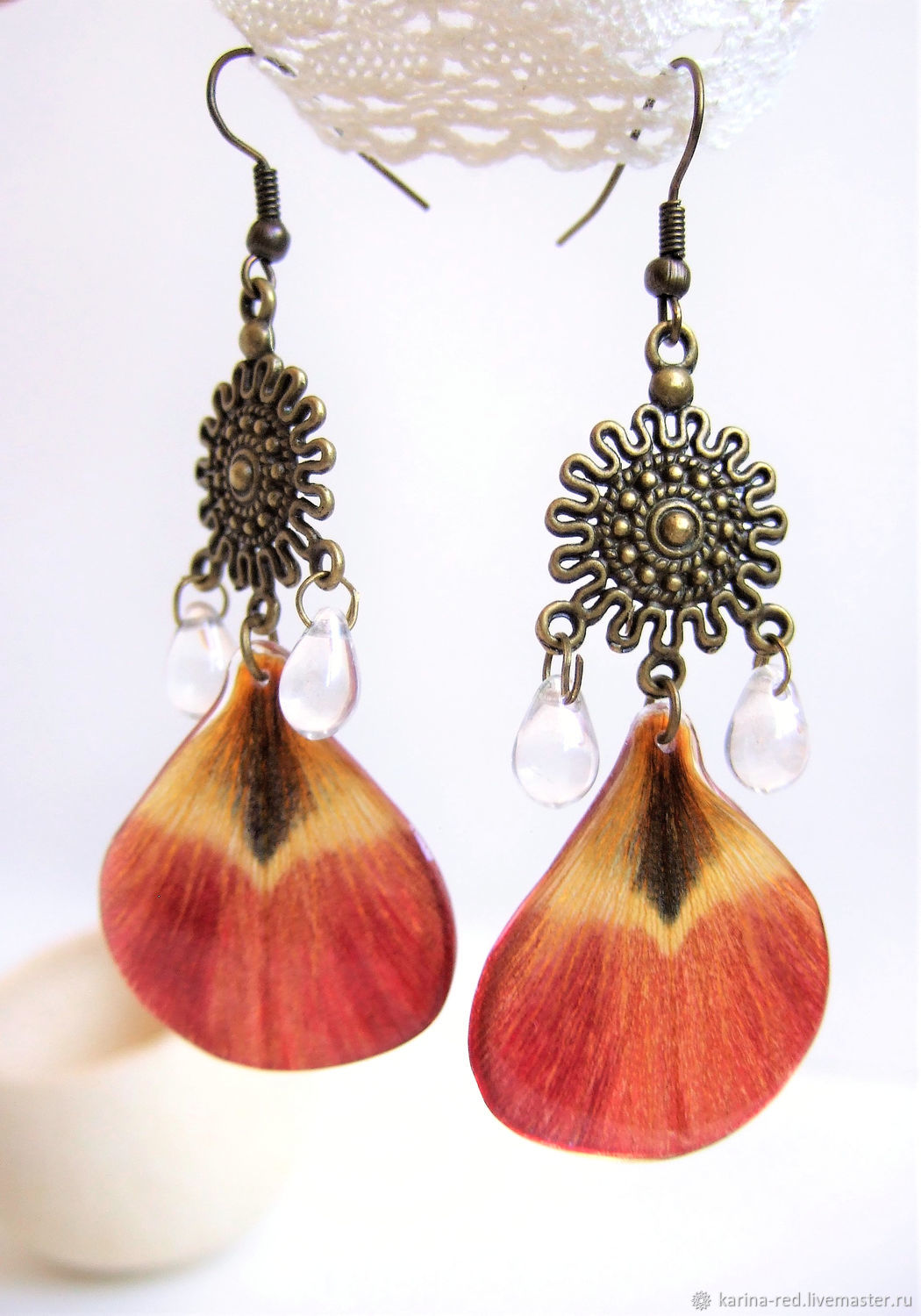 Earrings with Real red Petals of a Tulip Resin Botanica, Earrings, Taganrog,  Фото №1