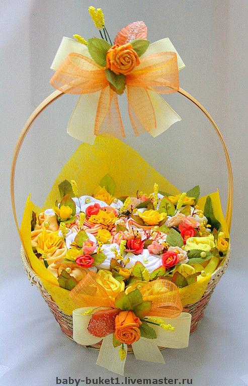 """Подарки для новорожденных, ручной работы. Ярмарка Мастеров - ручная работа. Купить Бэби-букет """"Розы в сахаре"""". Handmade. Подарок"""