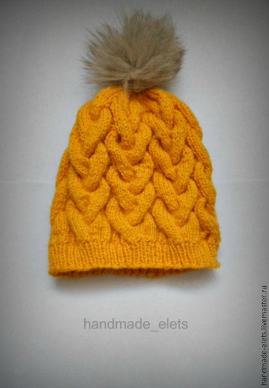 Шапки ручной работы. Ярмарка Мастеров - ручная работа. Купить Шапка с косами Канарейка. Handmade. Желтый, орнамент, шапка вязаная