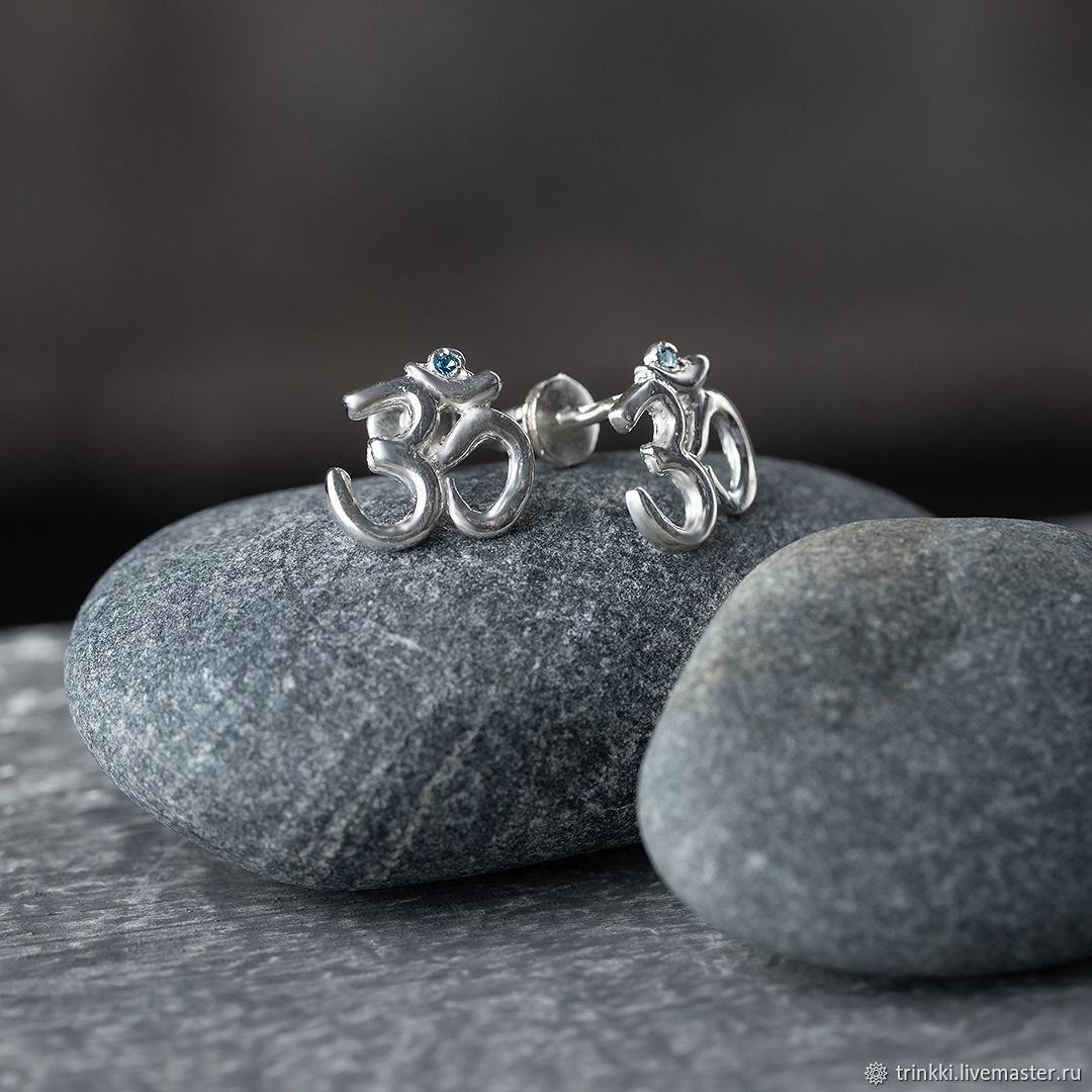Om earrings Pusey silver. Yoga decorations, Stud earrings, Tver,  Фото №1