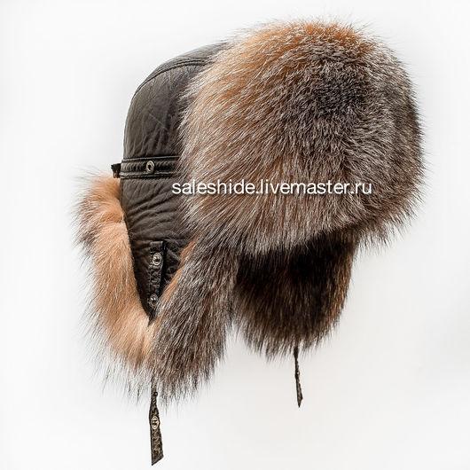 Для мужчин, ручной работы. Ярмарка Мастеров - ручная работа. Купить Мужская шапка ушанка из меха лисы блюфрост BlueFrost fox. Handmade.