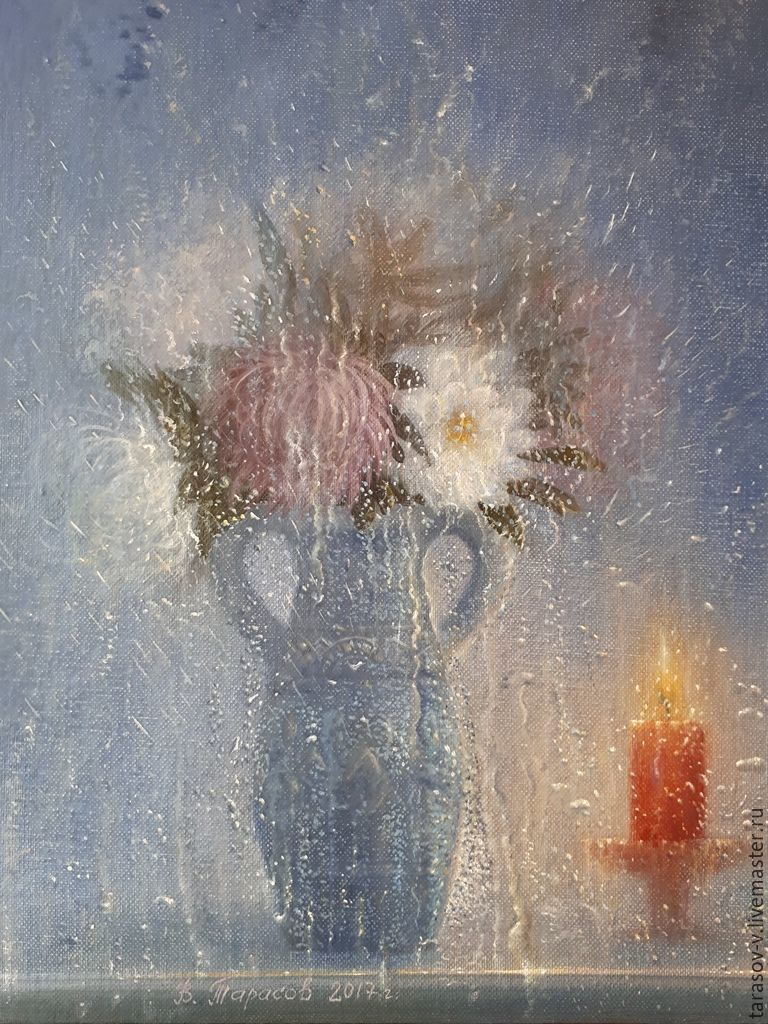 Still life with asters and red candles.( Vladimir Tarasov), Pictures, Moscow,  Фото №1