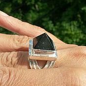 Украшения ручной работы. Ярмарка Мастеров - ручная работа Кольцо пирамида с черным Турмалином. Handmade.