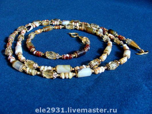 Колье, бусы ручной работы. Ярмарка Мастеров - ручная работа. Купить Длинное элегантное ожерелье из агатов, опалов и цитринов. Handmade.