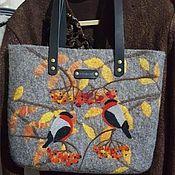 """Классическая сумка ручной работы. Ярмарка Мастеров - ручная работа Сумка из войлока """"Снегиринное 3"""". Handmade."""