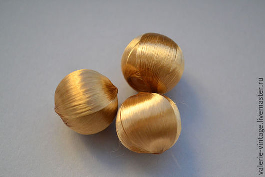 """Для украшений ручной работы. Ярмарка Мастеров - ручная работа. Купить Бусины из шелковых нитей Франция цвет """"золото"""". Handmade."""