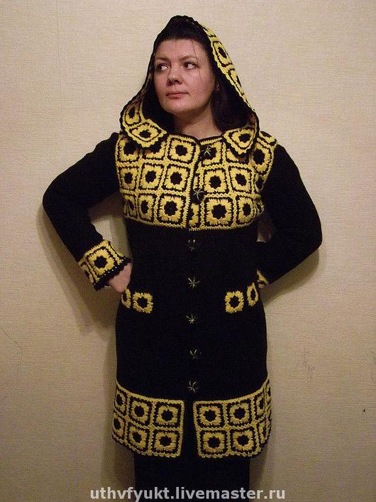 """Верхняя одежда ручной работы. Ярмарка Мастеров - ручная работа. Купить Пальто """"желтое на черном"""".  Авторская работа. Handmade."""