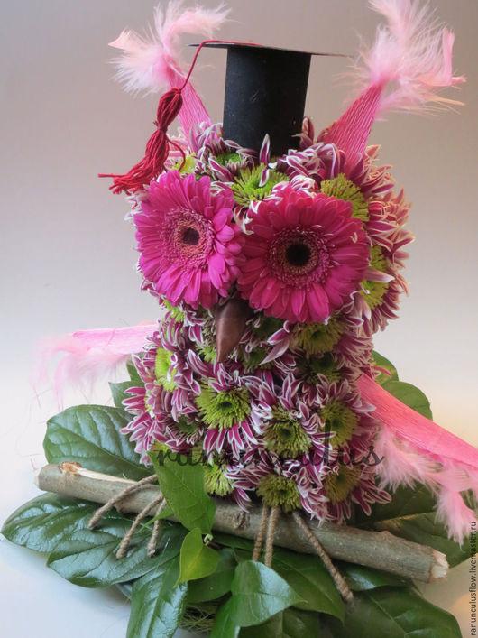 Букеты ручной работы. Ярмарка Мастеров - ручная работа. Купить Сова из цветов. Handmade. Комбинированный, игрушки из цветов, совушка
