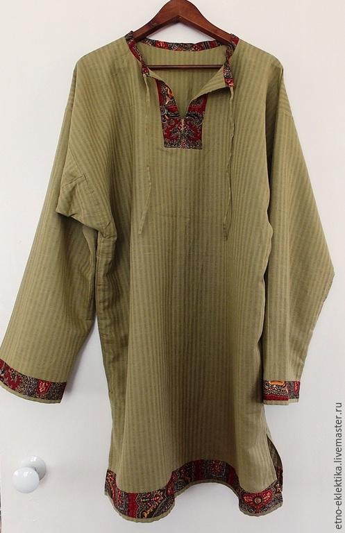 """Этническая одежда ручной работы. Ярмарка Мастеров - ручная работа. Купить Рубаха """"повседневная"""" цвета хаки. Handmade. Хаки, рубаха"""