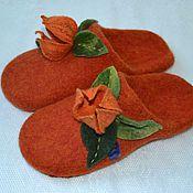 """Обувь ручной работы. Ярмарка Мастеров - ручная работа тапочки из шерсти """"физалис"""". Handmade."""