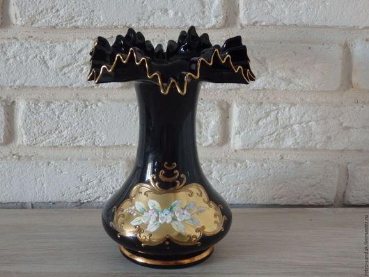 Винтажная посуда. Ярмарка Мастеров - ручная работа. Купить Вазочка для цветов из богемского стекла с лепкой, винтаж. Handmade. Черный
