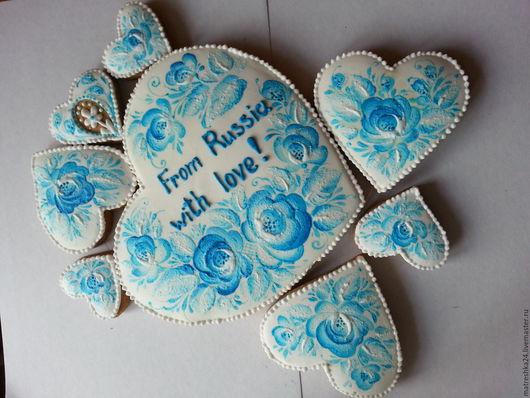 Кулинарные сувениры ручной работы. Ярмарка Мастеров - ручная работа. Купить Подарочный набор пряников. Handmade. Голубой, пряничный сувенир