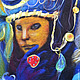 """Люди, ручной работы. Ярмарка Мастеров - ручная работа. Купить Картина из шерсти """"Венецианская маска"""". Handmade. Синий, картина для интерьера"""