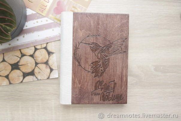 Деревянный блокнот с гравировкой рисунка, Ежедневники, Барнаул,  Фото №1