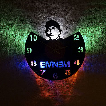 For home and interior handmade. Livemaster - original item Wall clock with led light from the album Eminem. Handmade.