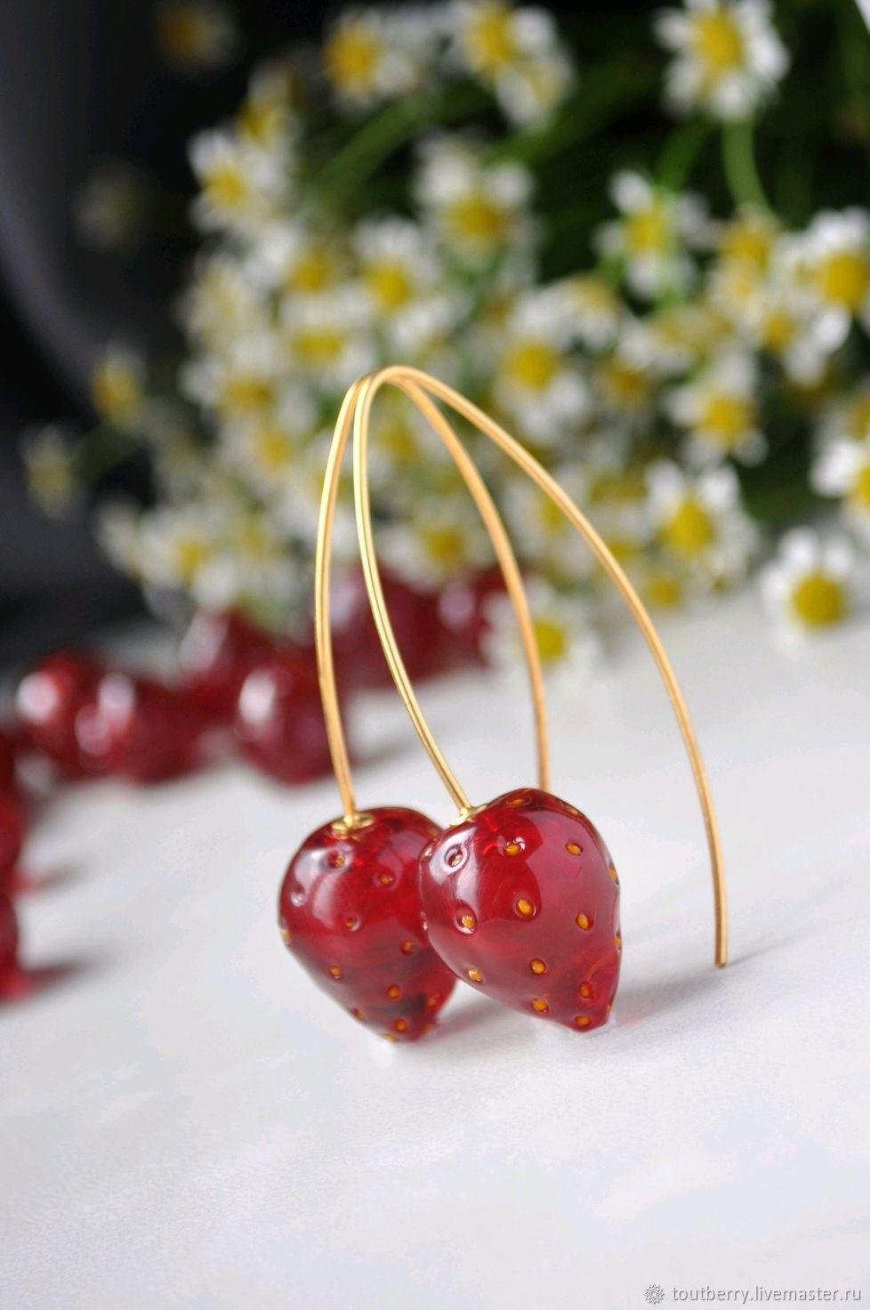 Strawberry earrings - long earrings, Earrings, Moscow,  Фото №1