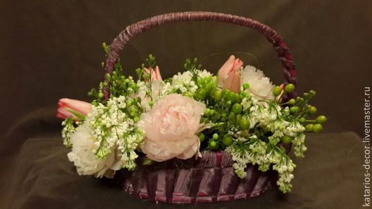Букеты ручной работы. Ярмарка Мастеров - ручная работа. Купить Корзина с цветами. Handmade. Бледно-розовый, флористика, тюльпаны