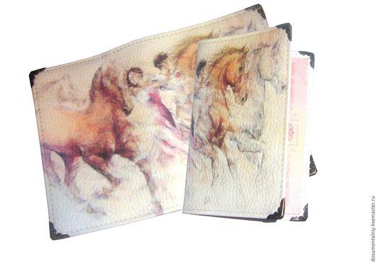 """Обложки ручной работы. Ярмарка Мастеров - ручная работа. Купить Обложка на паспорт, обложка для документов (кожа), серия """"Лошади"""". Handmade."""