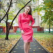 Одежда handmade. Livemaster - original item New autumn Dress with bow - Coral. Handmade.