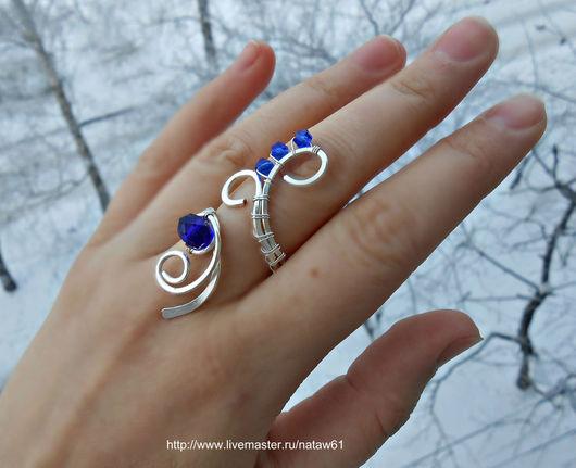 """Кольца ручной работы. Ярмарка Мастеров - ручная работа. Купить Кольцо """"Морозное утро"""" (синий, подарок, комплект,кольцо синее). Handmade."""