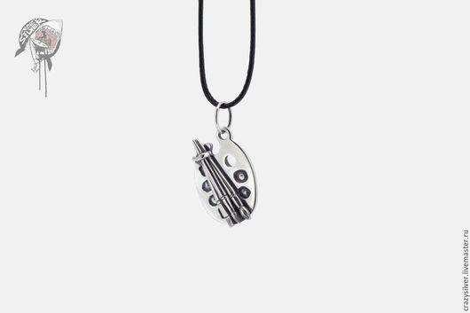 Кулон палитра.  CRAZY SILVER ™    Кулон ручной работы из серебра 925, максимальная детализация, маленькая копия палитры с кисточками для художника