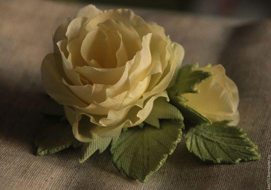 Броши ручной работы. Ярмарка Мастеров - ручная работа. Купить шелковая роза. Handmade. Желтый, роза, цветы из шелка