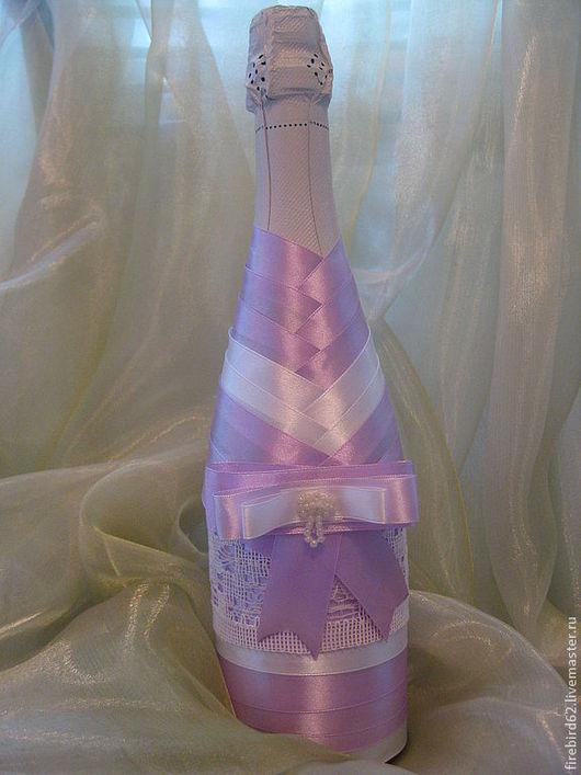 """Подарочное оформление бутылок ручной работы. Ярмарка Мастеров - ручная работа. Купить Шампанское """"Лиловый вечер"""". Handmade. Сиреневый, лиловый"""