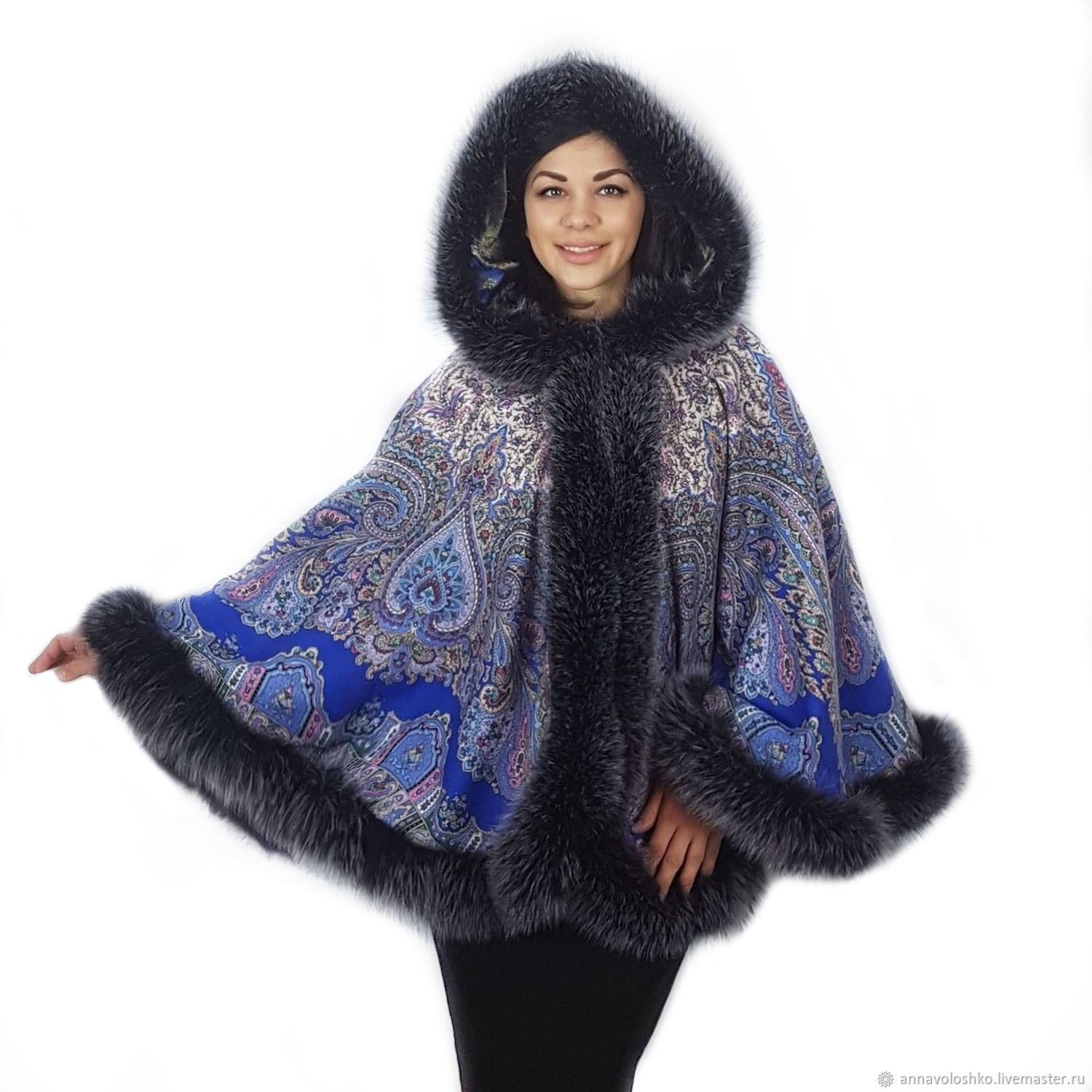 Blue poncho made of an Oriental Fairy Tale scarf with fur, Ponchos, Moscow,  Фото №1