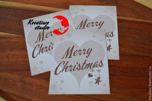 """Открытки к Новому году ручной работы. Ярмарка Мастеров - ручная работа. Купить """"Счастливого Рождества"""" ароматная открытка-бирка. Handmade."""