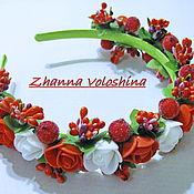 Работы для детей, ручной работы. Ярмарка Мастеров - ручная работа ободок-венок Белые-красные розы. Handmade.