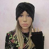 Bandage handmade. Livemaster - original item Set-headband and fingerless gloves with beads and beads, wool, black. Handmade.